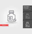 medicine bottle and pills line icon with editable vector image vector image