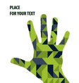 Open hand silhouette on green triangles background vector image