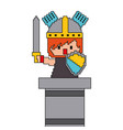 pixel character knight game interface level vector image vector image