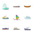 Riding in sea icons set cartoon style vector image vector image