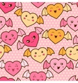 Seamless kawaii cartoon pattern with cute hearts vector image vector image