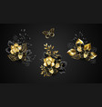 set black orchids vector image vector image