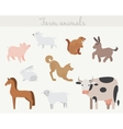 Set of cute cartoon farm animals vector image