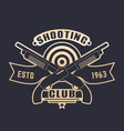 shooting club logo with guns two crossed shotguns vector image vector image