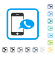 smartphone call balloon framed icon vector image