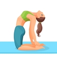 sporty girl dragging arms to legs through back vector image vector image