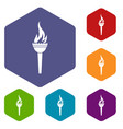 torch icons set hexagon vector image vector image