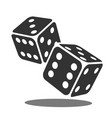two black falling dice isolated on white vector image vector image