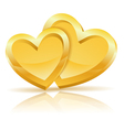 Two Gold Hearts vector image vector image