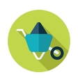 Wheelbarrow carts flat icon with long shadow vector image