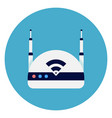 wifi internet router icon on round blue background vector image vector image