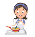 woman cooking potatoes vector image