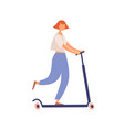 young faceless modern woman riding kick scooter vector image vector image