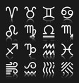 zodiac signs monochrome silhouette icon set vector image