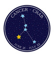 cancer zodiac constellation in space round icon vector image