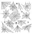 cobweb set spider web halloween black vector image