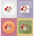 music items and equipment flat icons 16 vector image