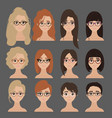 beautiful collection of female in glasses vector image