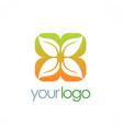 leaf square ornament logo vector image