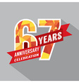 67th Years Anniversary Celebration Design vector image vector image