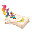 A book with a clown and balloons vector image vector image