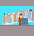 asian girl at reception of dry cleaning shop vector image