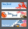banners with various seafood fish vector image vector image