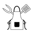 barbecue apron fork and spatula vector image vector image