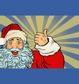 closeup of santa claus thumbs up vector image vector image