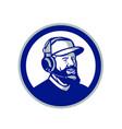 coach with beard and headphones circle retro vector image