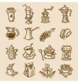 Coffee sketch icons set vector image vector image