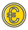 coin euro filled outline icon business finance vector image