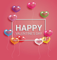 Colorful heart balloons With frame and Happy vector image