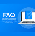 concept faq book for web page banner social media vector image vector image