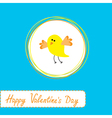 cute yellow bird Happy Valentines Day vector image vector image