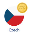 czech flag and currency vector image vector image