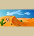 desert dune with golden sand animal skull cacti vector image vector image