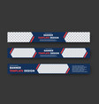 design of blue horizontal web banners with with vector image vector image