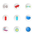 Exercise in gym icons set cartoon style vector image vector image