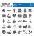 fitness glyph icon set sport symbols collection vector image vector image