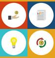 flat icon incoming set of document hand with coin vector image vector image