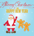 gingerbread cookies and santa claus christmas gree vector image vector image