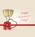 glasses of champagne and valentine heart vector image vector image