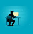 hacker behind desktop computer vector image vector image