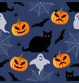 halloween seamless pattern with black cat bat vector image