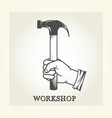 hand with hammer - repair service emblem vector image vector image
