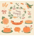 Happy Thanksgiving set of elements for design vector image vector image