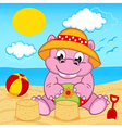 hippo girl on beach vector image vector image