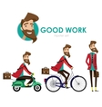 Hipster man on scooter vector image