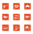 home cooked icons set grunge style vector image vector image